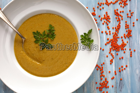 dish of red lentil soup