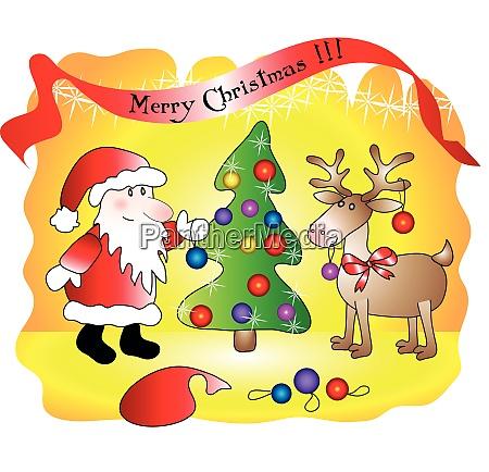 santa schmueckt weihnachtsbaum