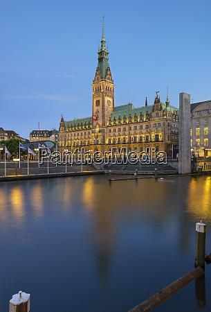 germany hamburg city hall and little