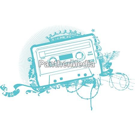 kassette band schablone vektor illustration