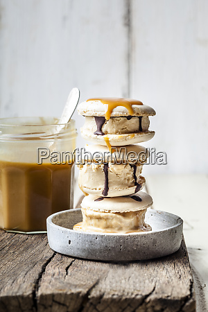 stack of macarons filled with salted