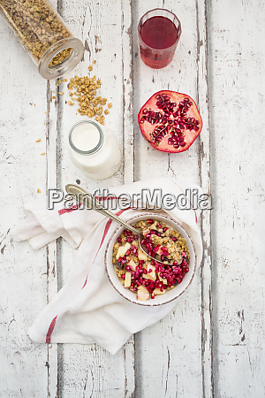 breakfast with fruit muesli with pomegranate