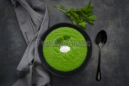 bowl of pea mint soup