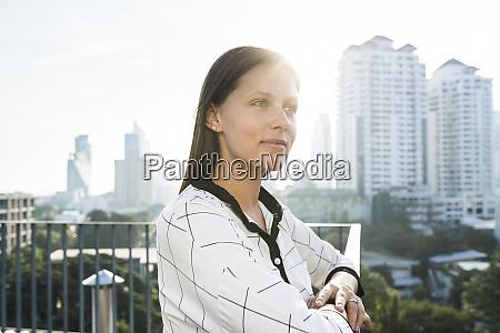 portrait of brunette business woman on