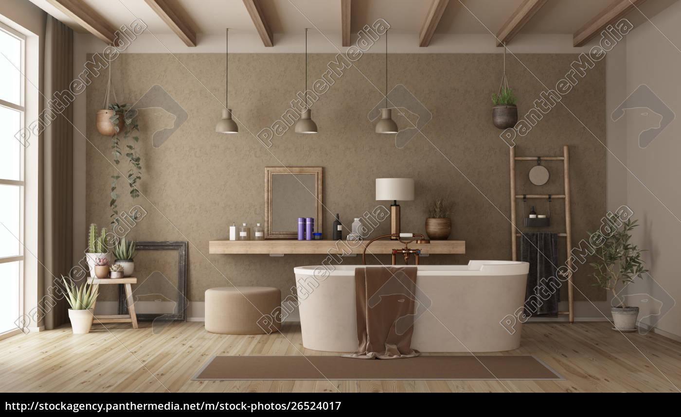 Stockfoto 8 - Retro Badezimmer mit moderner Badewanne