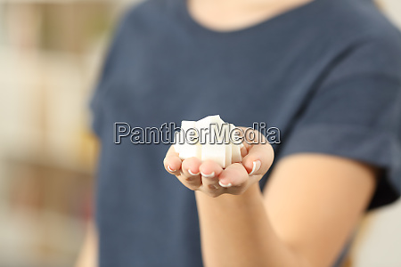 closeup of a woman hand holding