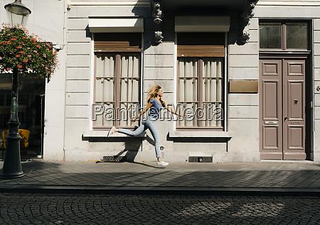 netherlands maastricht blond young woman running