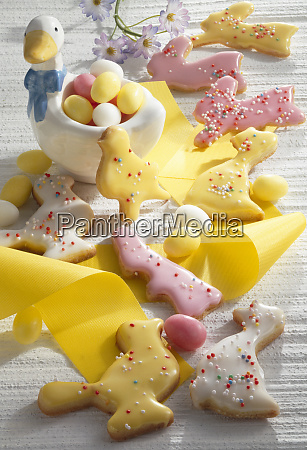colourful easter biscuits with yellow ribbon