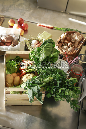 fresh orgnaic vegetables and fruits in
