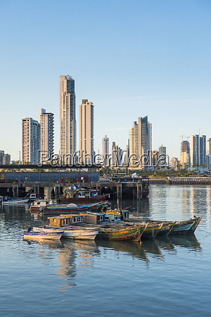 panama panama city skyline fishing boats