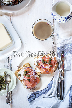 slices of toast with smoked salmon