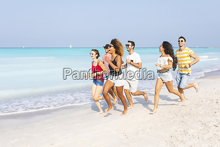 friends having fun running on the