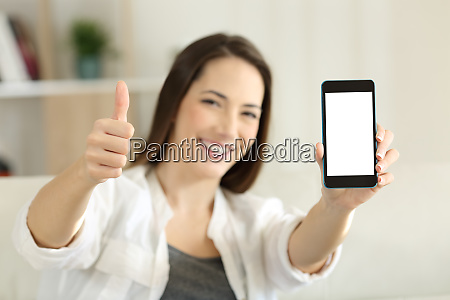 female showing a blank smart phone