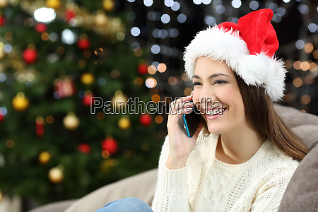girl calling on phone at home