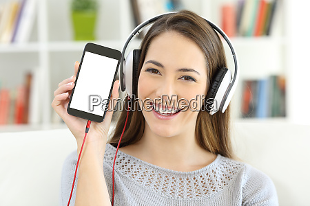 girl listening to music showing