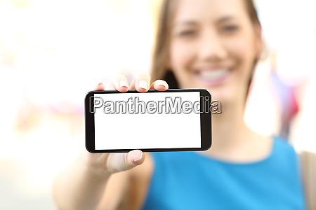 female showing a blank horizontal phone