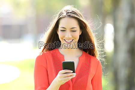 front view of a woman using