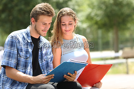 two students studying together in a