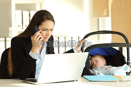 stressed mother working taking care of