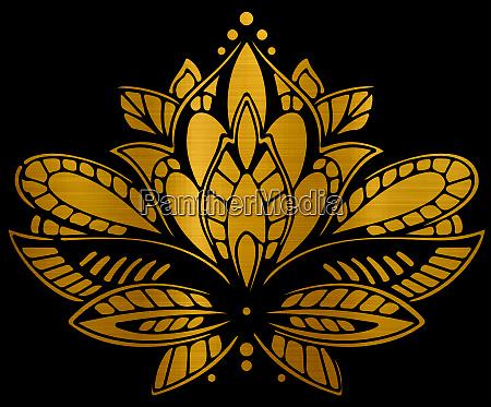 metallische goldene lotus blume geist meditation