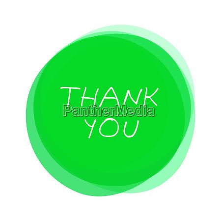 isolierte gruene runde button danke handschriftlich