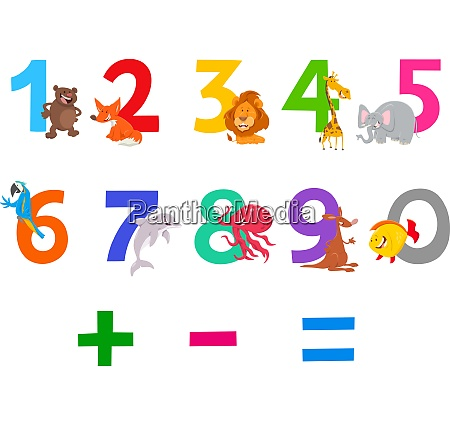educational numbers set with cute cartoon