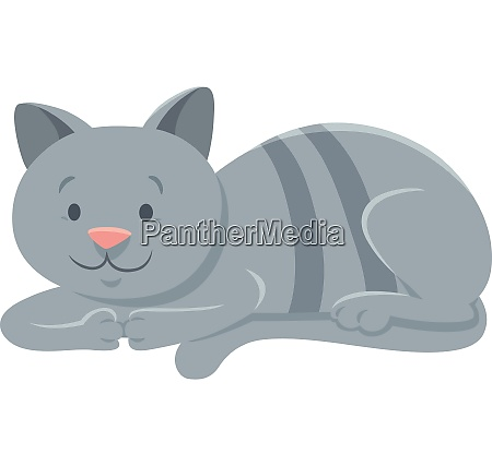 funny gray cat cartoon animal character