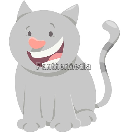 cute gray cat cartoon animal character