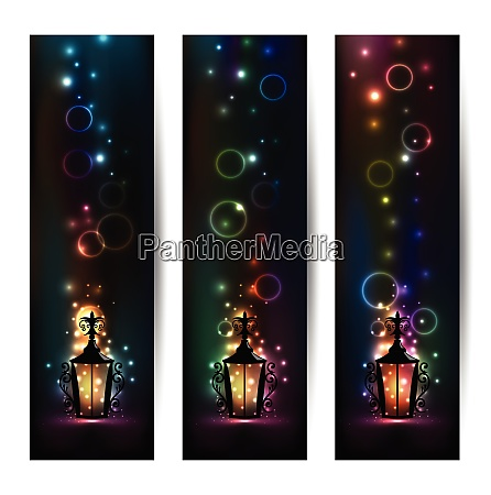 illustration set islamic light banners with