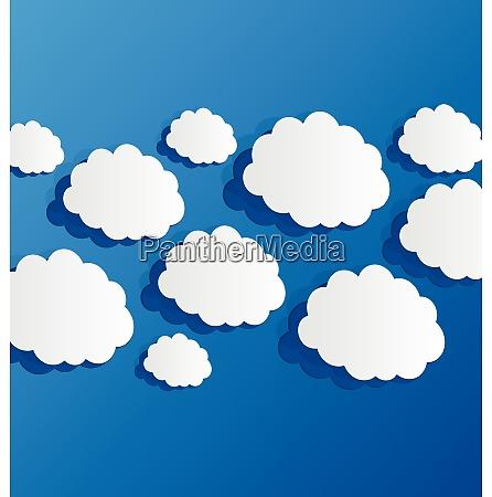 illustration set cut out clouds blue