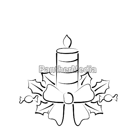 illustration christmas candle with bow freehand