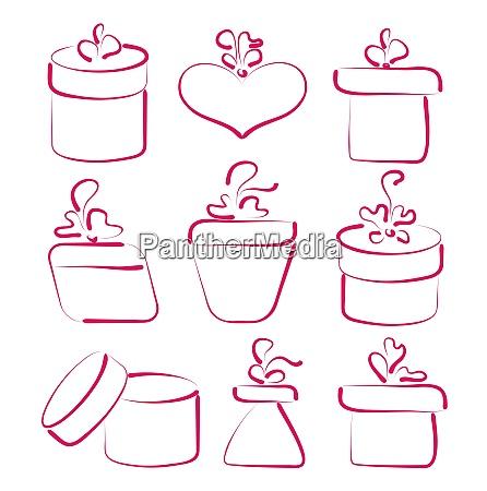 illustration handgezeichnete geschenkboxen fuer ihr jubilaeum