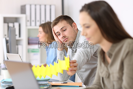 lazy employee boring at office