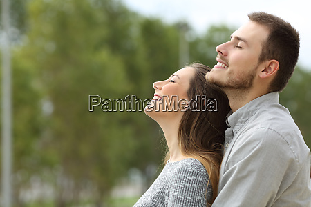 couple breathing fresh air in a