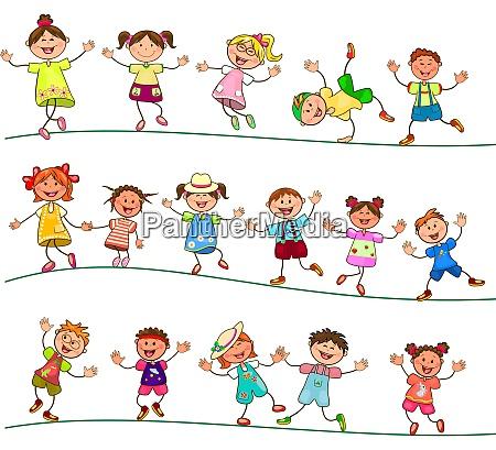 freudig kleine kinder zum spaziergang