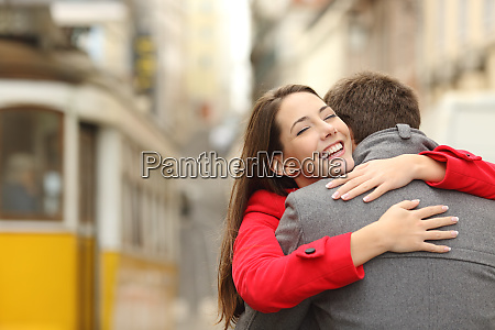 encounter of a couple hugging in