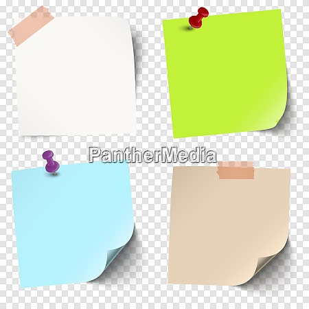 sticky papers collection with vector transparency