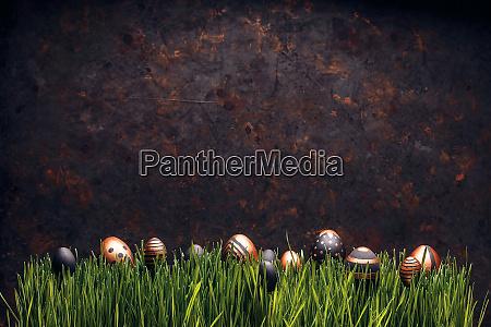 ostern ei gras eier hintergrund gruen