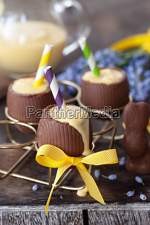 egg nogg in chocolate egg