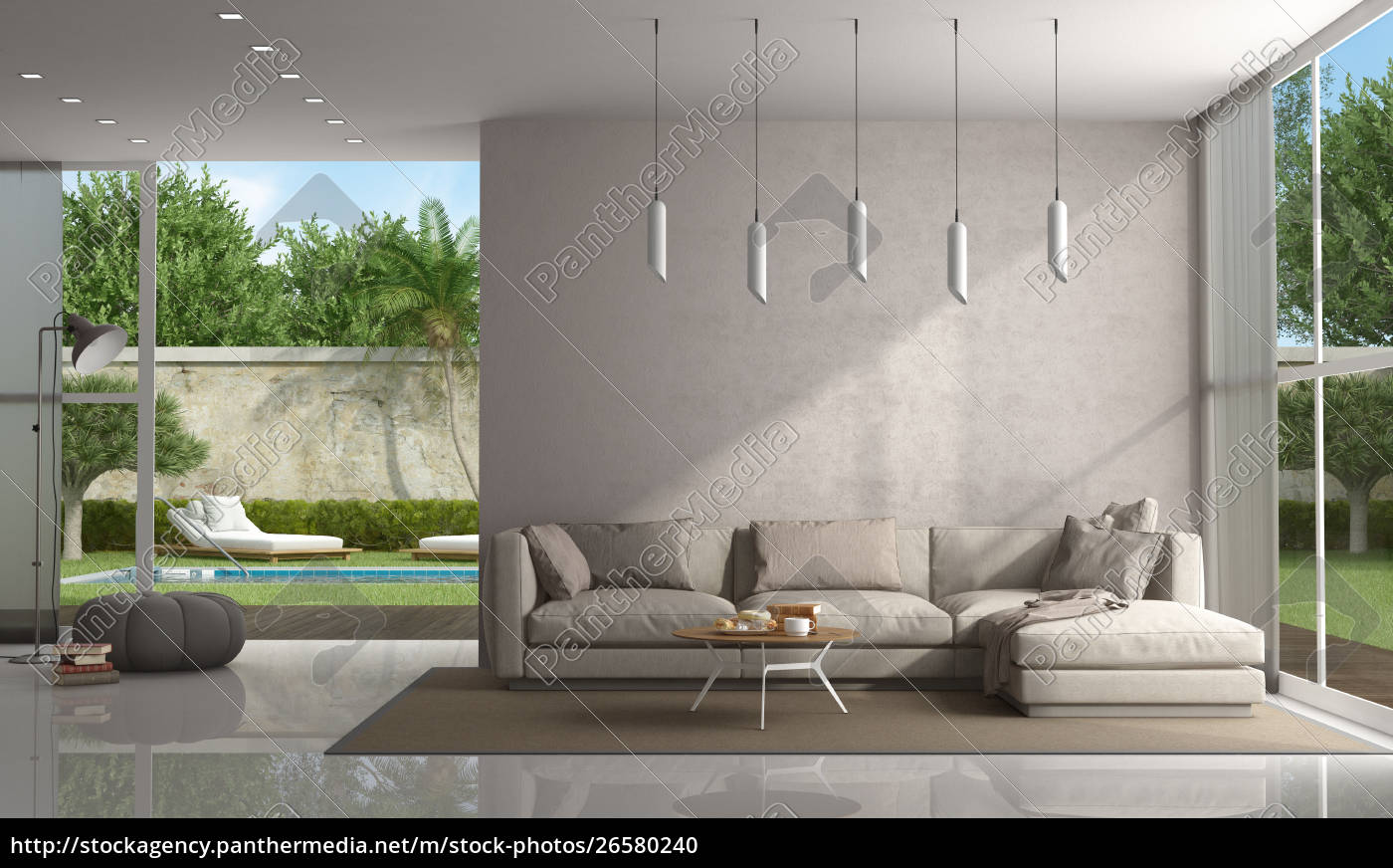 Lizenzfreies Foto 26580240 - Brown living room of a modern villa