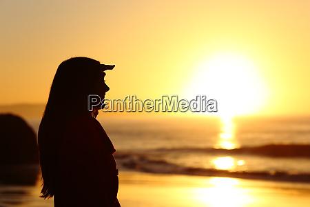 silhouette freut sich auf sonnenuntergang