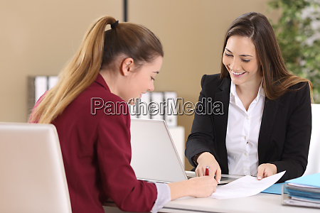 employee or client signing a contract