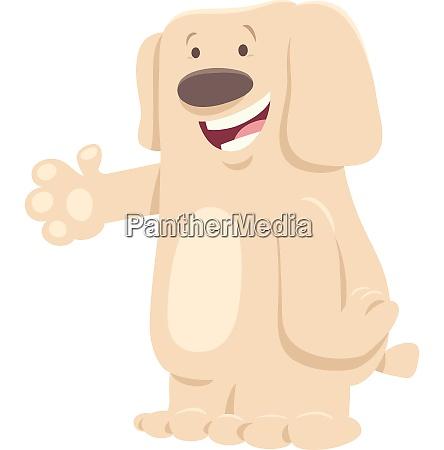 funny white dog cartoon animal character