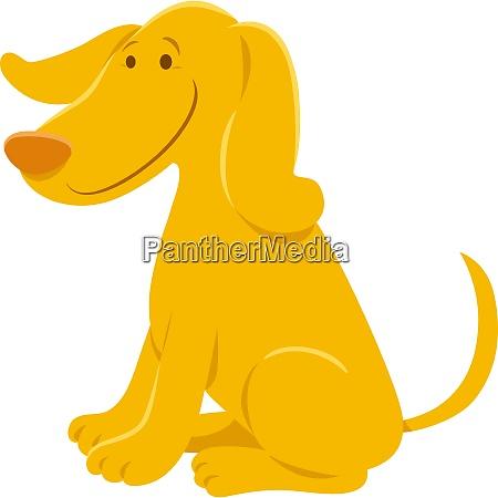 funny yellow dog cartoon animal character