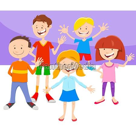 cartoon children and teens group