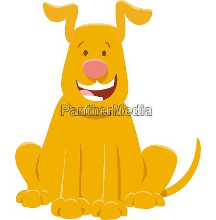 happy yellow dog cartoon animal character