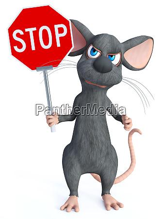 3d redation einer zeichentrickmaus mit stopp