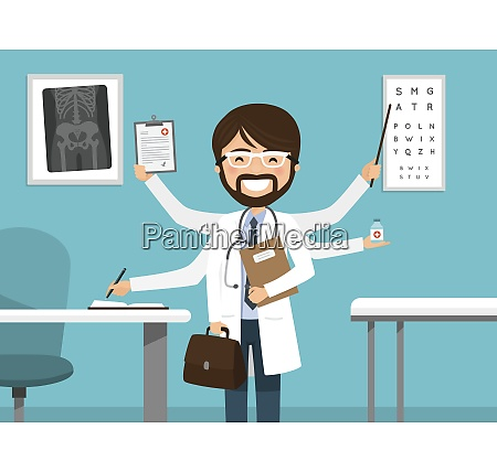 multitasking busy male doctor smiling professional