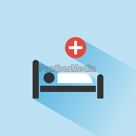 hospital bed medicine color icon with