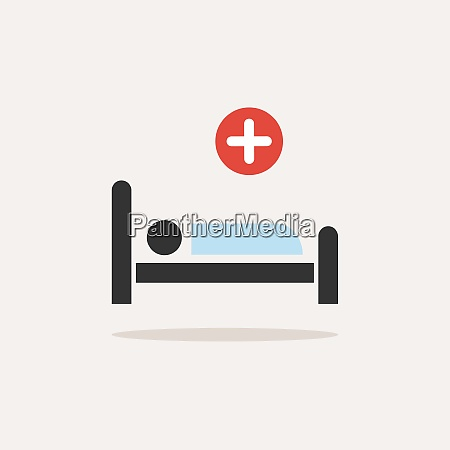 hospital bed medicine flat color icon